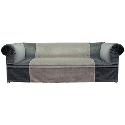 Long Deep and Very Comfortable Luxe Sofa in Two-Tone Blue Silk Mohair