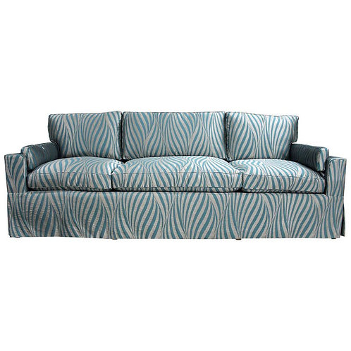 Elegant and Luxurious Sofa in a Deep Aqua and Silver Silk with a Waterfall Skirt
