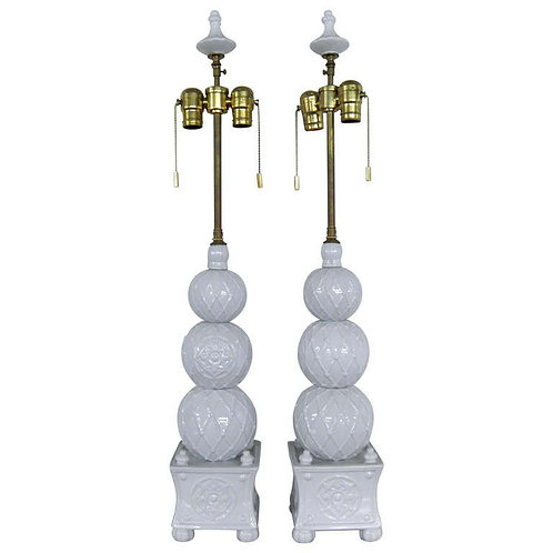 """Unusual Pair Of Chinese Ceramic """"Topiary"""" Vessels With Lamp Application"""