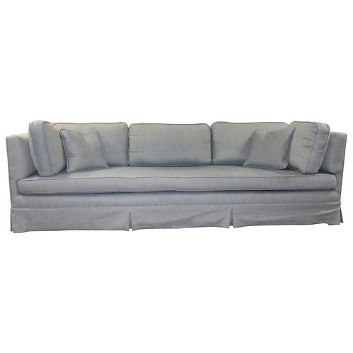 Long and Lovely Sofa in a Woven Blue/Gray Fabric