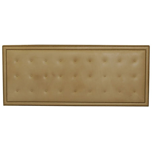 1980's Leather buttomed headboard with brass Nail-head detail