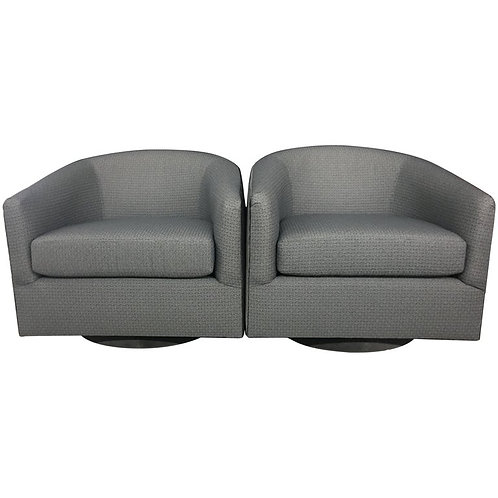 """Pair of Fully Restored, Midcentury Swivel """"Barrel"""" Chairs"""