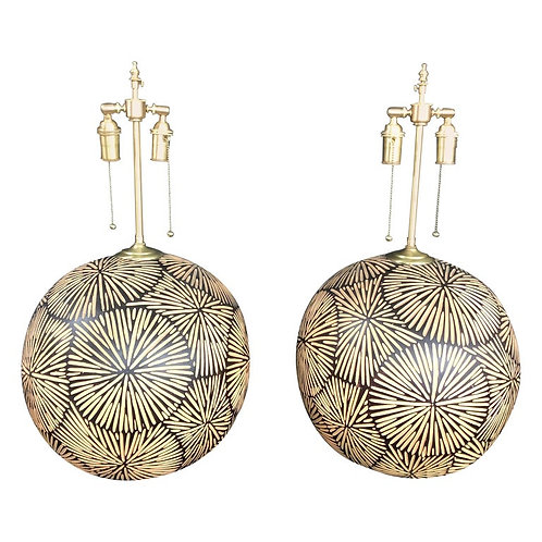 Unique Pair of Large African Orbs with Lamp Application