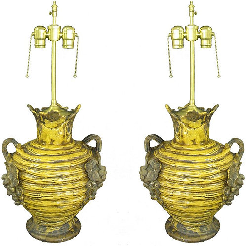 Pair of French Vendange Urns with lamp application