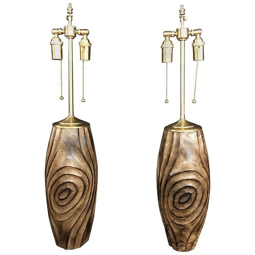 Pair of Hand-Carved Wood Vessels with Lamp Application