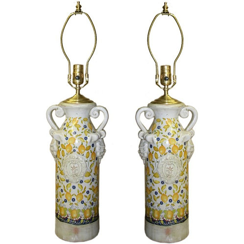 Pair of 1960's Provencal Urns with lamp application