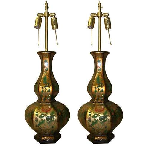 Pair of Eglomise vases with lamp application