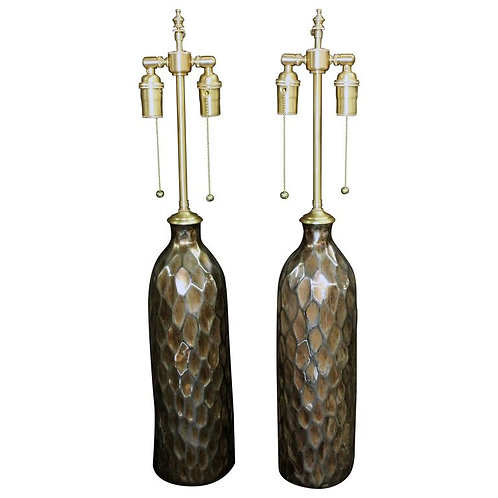 Unusual Pair of Textured Metal Vessels with Lamp Application