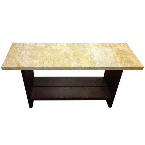 Golden Marble and Espresso Oak console