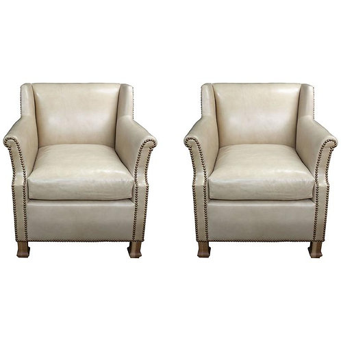 """Pair of Custom Leather Club Chairs in a Butter Soft """"cafe au lait"""" Leather"""