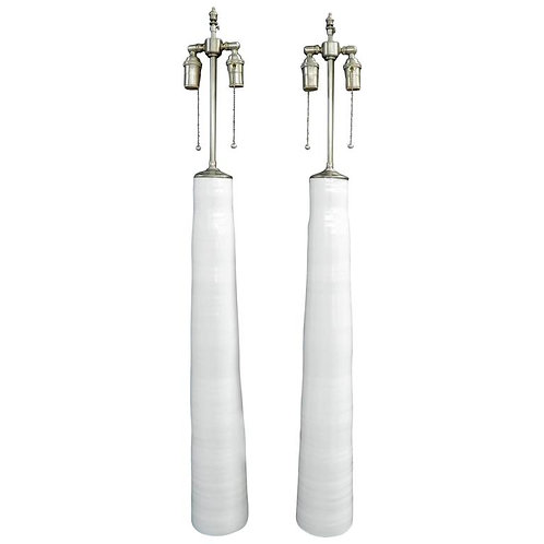 unusually tall Pair of White Porcelain Vases with Lamp Application