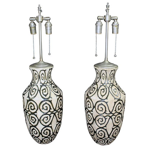 Elegant Pair of Pottery Vases with Silver Glazed Details and Lamp Application