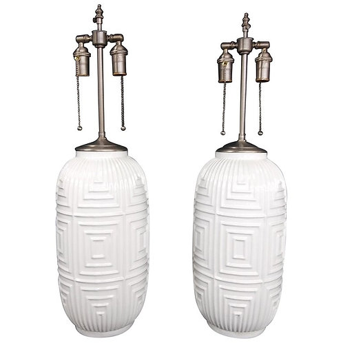Pair of Mid-Century Modern Glazed and Textured Vases with Lamp Application