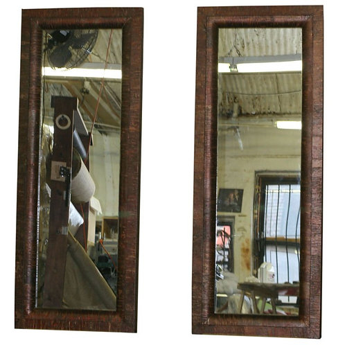 Pair of Tall Unusual Red Birch Framed Full Length Mirrors