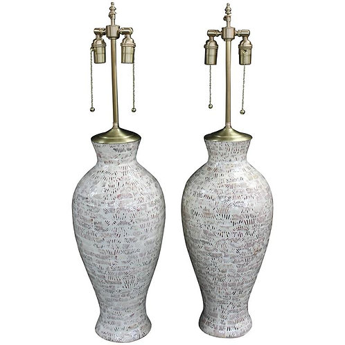 "Large Pair of Ceramic Vessels with ""Scallop"" Inset Pattern and Lamp Application"
