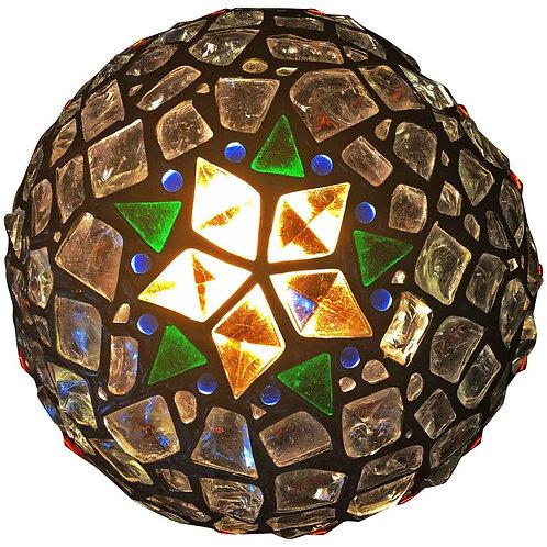 Unique, Vibrant Hungarian Chunk Leaded Glass Globe