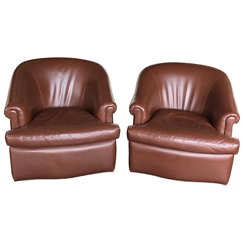 Pair of Custom Swivel Club Chairs in Rich Brown Leather