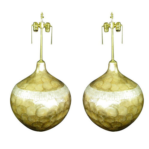 Pair of Glazed Mica over-sized lamps