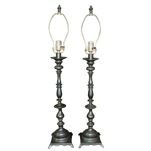 Pair of Ornate Traditional Metal Lamps