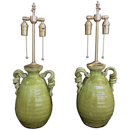 Unusual Pair of Apple Green Crackle Glazed Urns with Lamp Application