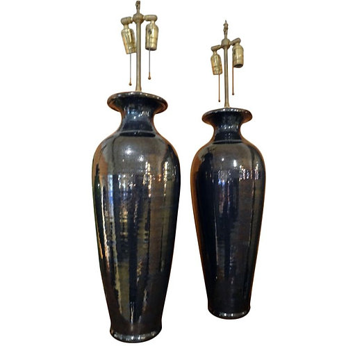 Large Pair of Hematite Vases with Lamp Application
