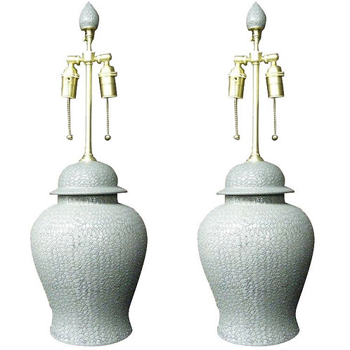 Pair of elegant gray lidded ginger jars with lamp application