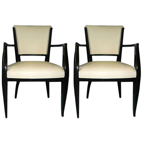 Pair of Back Lacquered Fauteuils in White Leather