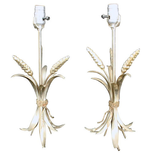 Two metal lamps with a bunch of wheat at base and new shade