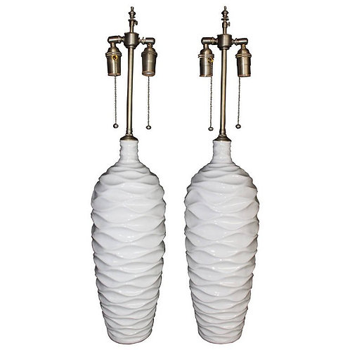 """Chic Pair of """"Wave"""" Glazed Ceramic Vases with Lamp Application"""