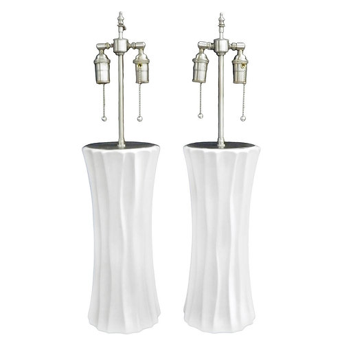 Pair of hand formed fluted column vases with lamp application