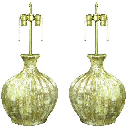 Pair of custom Created Kabibe shell style lamps