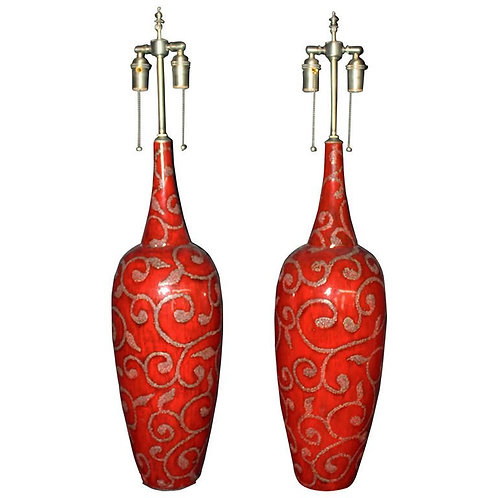 Large Blood Orange Glazed Vases with Lamp Application