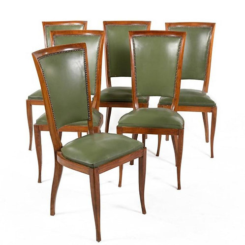 Group of Six French Vintage Upholstered Dining Side Chairs