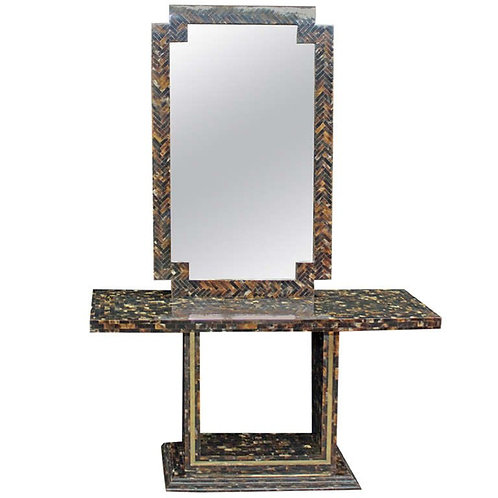 Chic and Beautiful Tessellated Horn Console and Matching Mirror