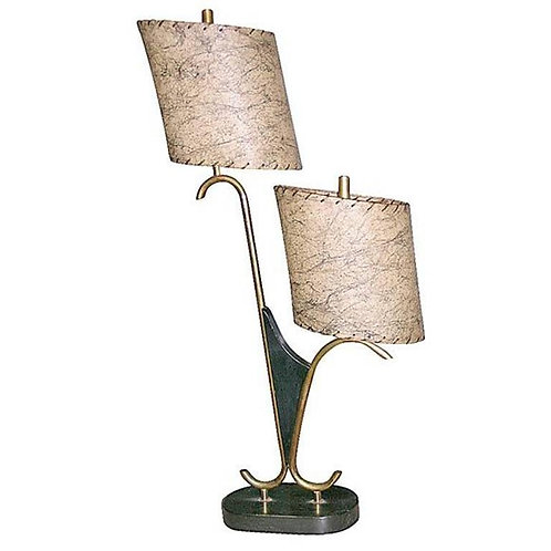 1950s Dual Fixture Table Lamp with Stone Base and Goatskin Shades