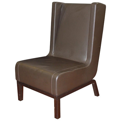 Custom Leather Side Chair in a Rich Brown Leather