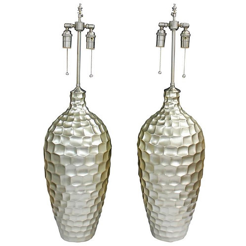 Pair of Large Textured Ceramic Vessels with Lamp Application
