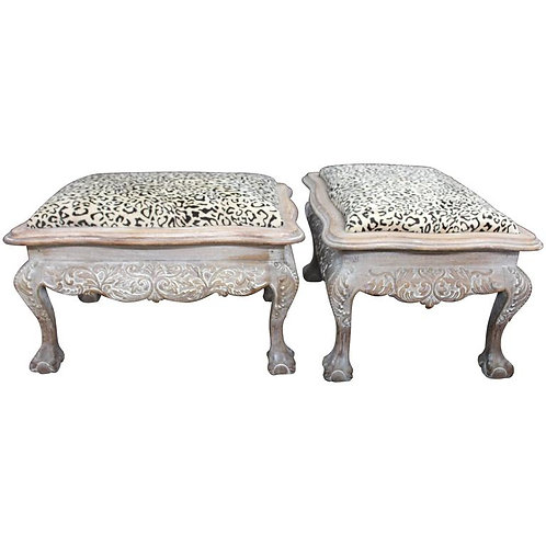 Pair of Finely Detailed Portuguese Cerused Mahogany Benches