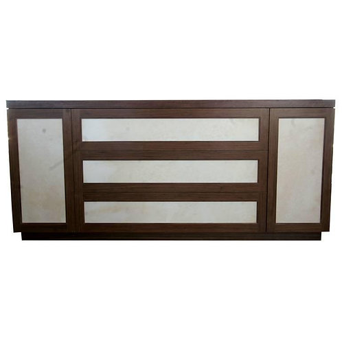 Motorized bar in Walnut and Goat skin parchment panels