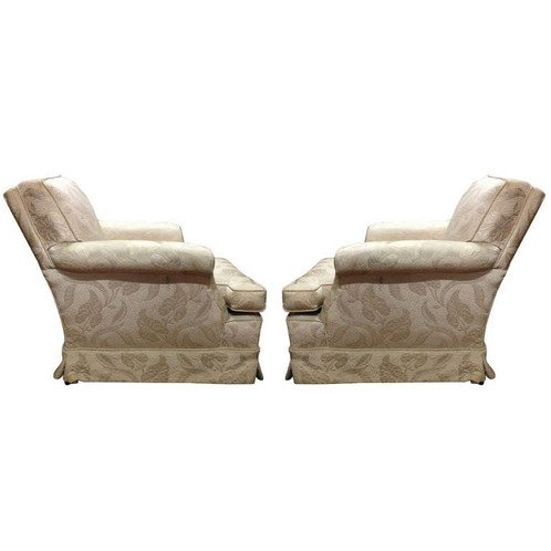 Pair Of Comfortable Club Chairs, Loose Seat, Tight Back With Short Skirt.