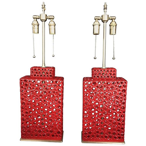 Unique Pair of Red Ceramic Vessels with Lamp Application