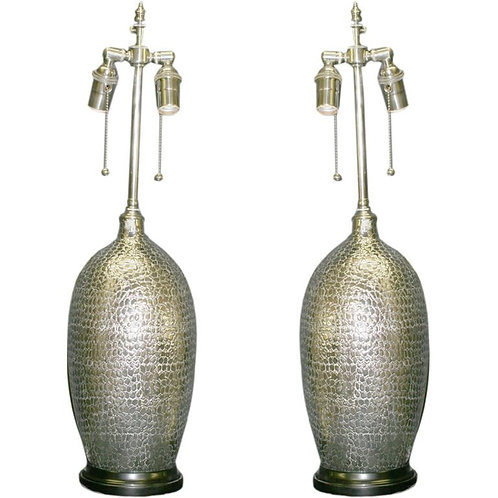 Pair of Silver Textured Vessels with Lamp Application