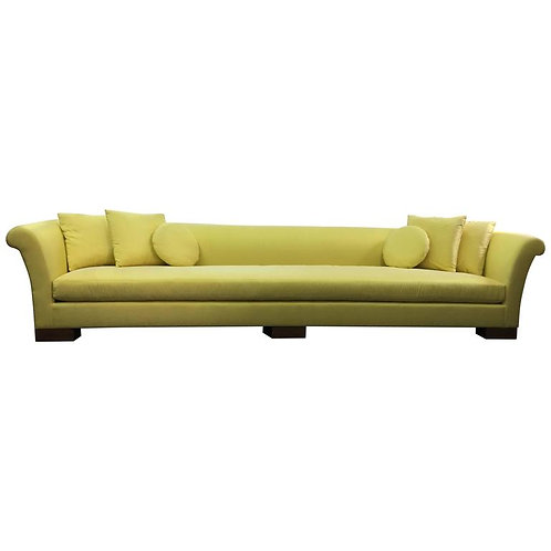 Elegant Divan in Lemon Satin with Square and Round Pillows