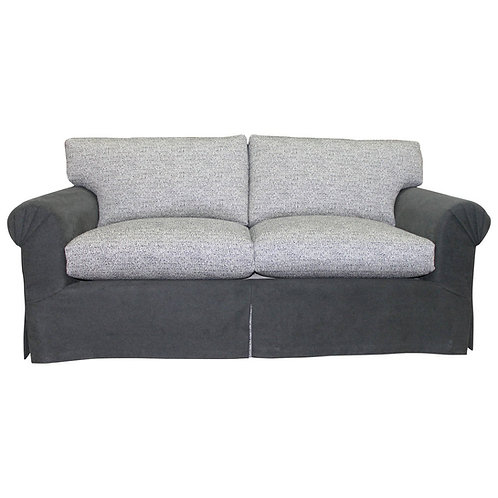 Elegant and Very Comfortable, Fully Refurbished Sofa in Grey Flannel and Linen