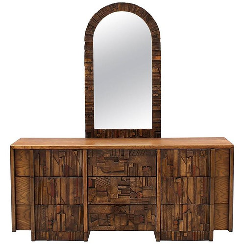 Oak Brutalist Style Dresser with Mirror
