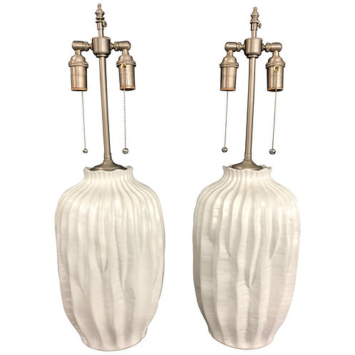 Unique Pair of Organic White 'Pleated' Vases with Lamp Application
