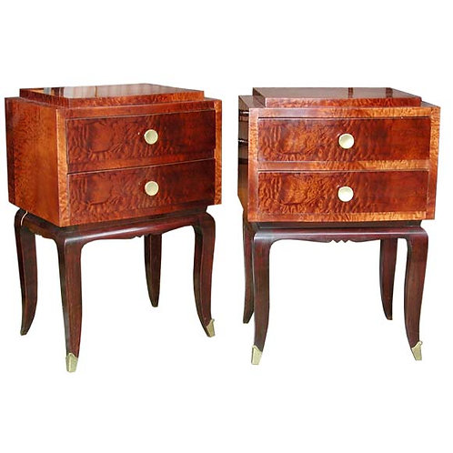 Pair of Burr Elmwood End Tables
