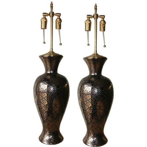 Pair of 1970's Portuguese vases with lamp application