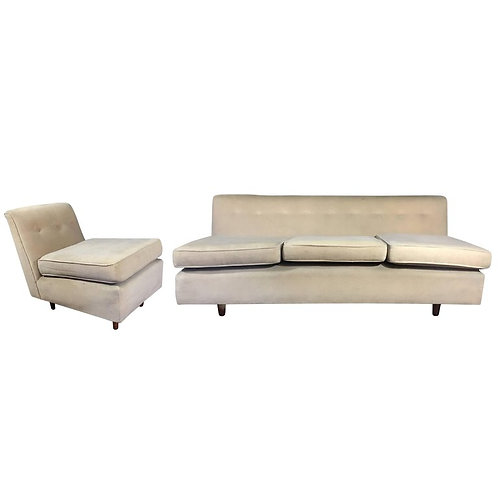 Vintage, Midcentury Armless Sofa and Partner Chair