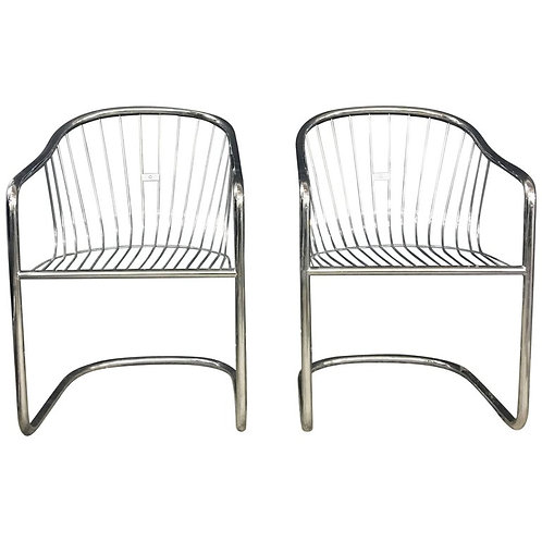 Pair of Gastone Rinaldi Vintage Chrome Cantilever Chairs